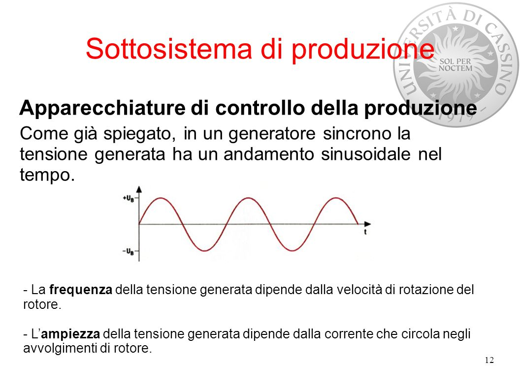 - La frequenza della tensione generata dipende dalla velocità di rotazione del rotore. - Lampiezza della tensione generata dipende dalla corrente che