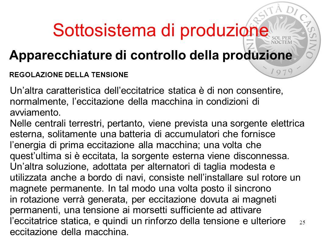 Sottosistema di produzione Apparecchiature di controllo della produzione REGOLAZIONE DELLA TENSIONE 25 Unaltra caratteristica delleccitatrice statica