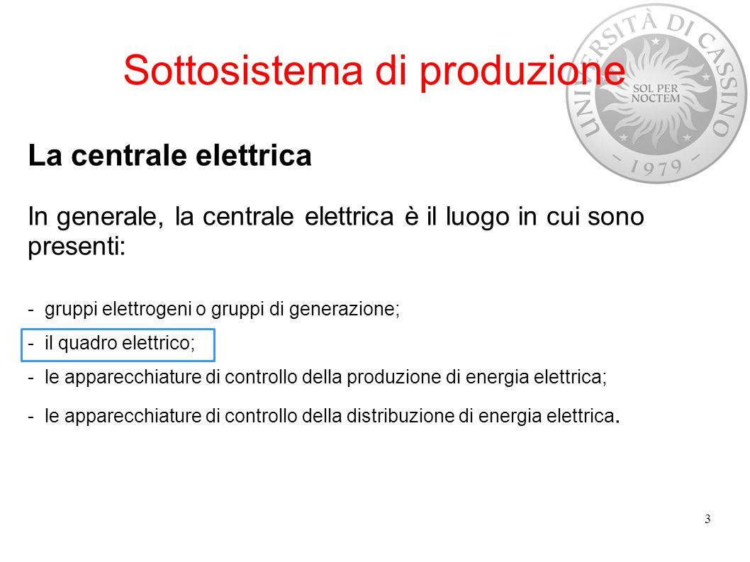 Sottosistema di produzione Quadri elettrici Il quadro elettrico di centrale realizza il collegamento tra generatori e linee di distribuzione.