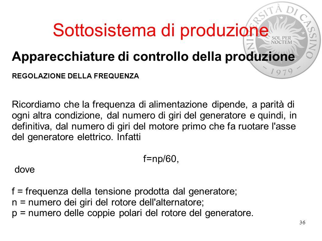 Sottosistema di produzione Apparecchiature di controllo della produzione REGOLAZIONE DELLA FREQUENZA Ricordiamo che la frequenza di alimentazione dipe