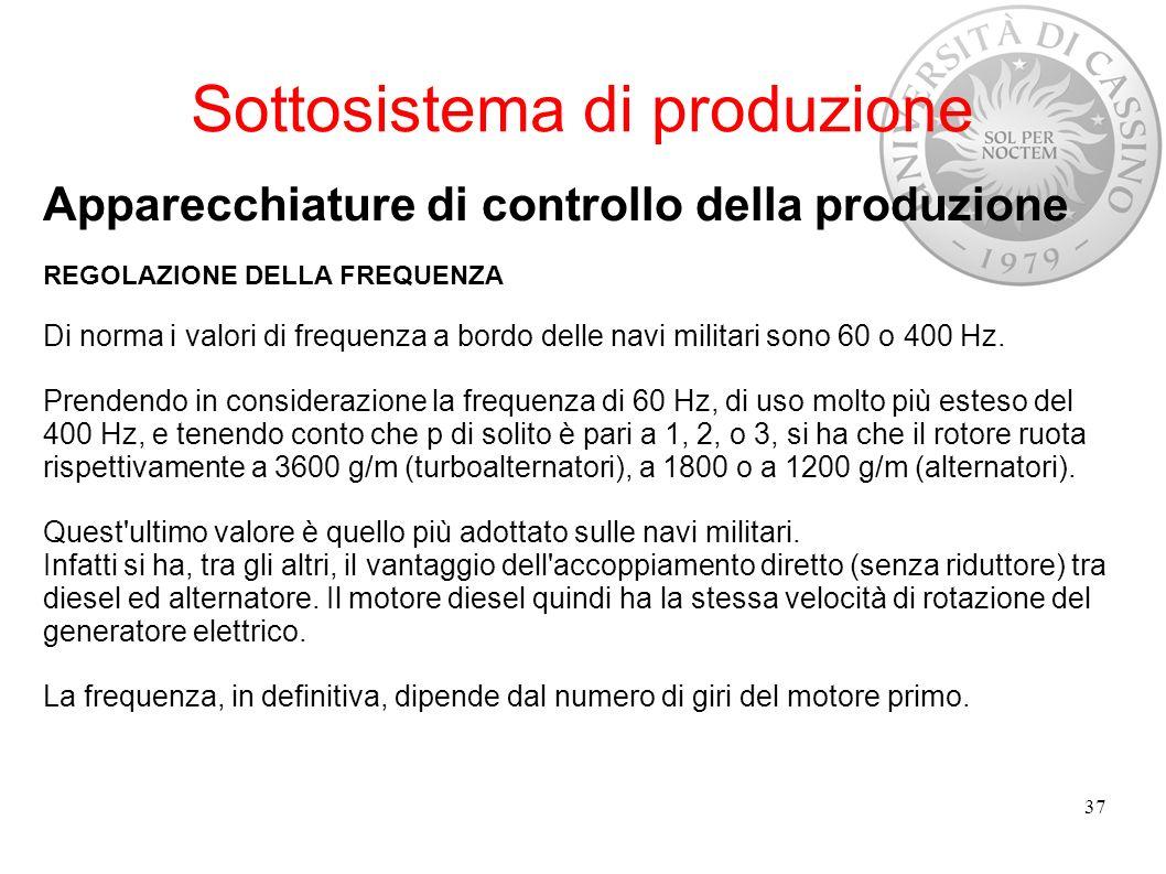 Sottosistema di produzione Apparecchiature di controllo della produzione REGOLAZIONE DELLA FREQUENZA Di norma i valori di frequenza a bordo delle navi