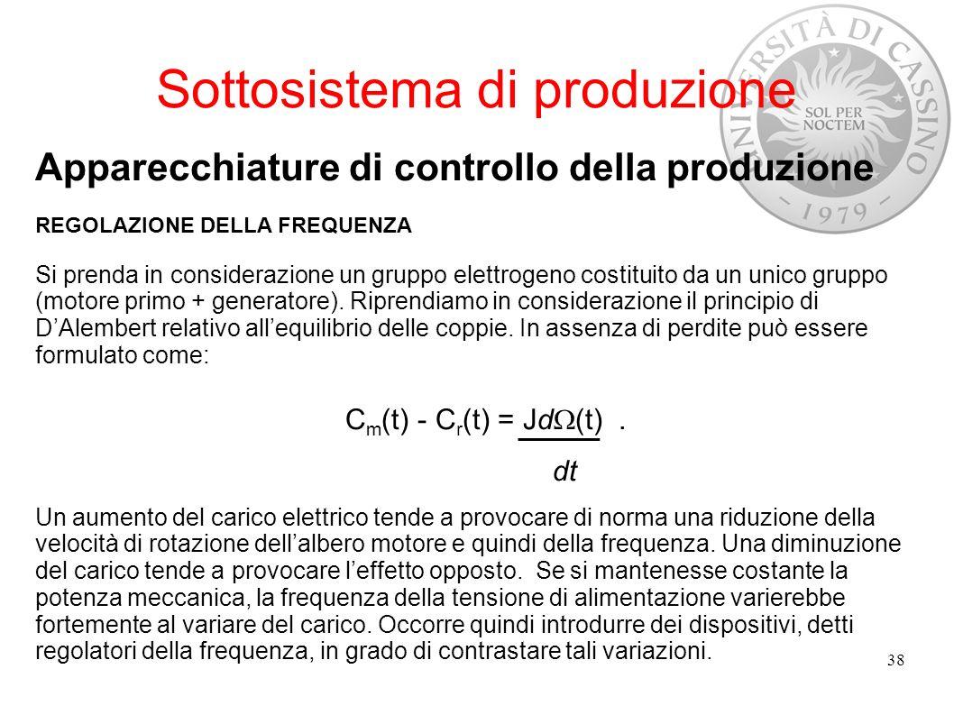 Sottosistema di produzione Apparecchiature di controllo della produzione REGOLAZIONE DELLA FREQUENZA Si prenda in considerazione un gruppo elettrogeno