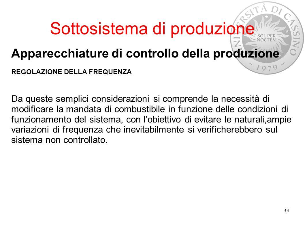 Sottosistema di produzione Apparecchiature di controllo della produzione REGOLAZIONE DELLA FREQUENZA Da queste semplici considerazioni si comprende la