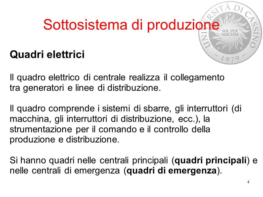 Sottosistema di produzione Quadri elettrici PRINCIPALI Il quadro elettrico principale può essere - a semplice sistema di sbarre; - a doppio sistema di sbarre; - con un sistema di sbarre principale e due sbarre ausiliarie; - due sbarre principali e due sbarre ausiliarie.