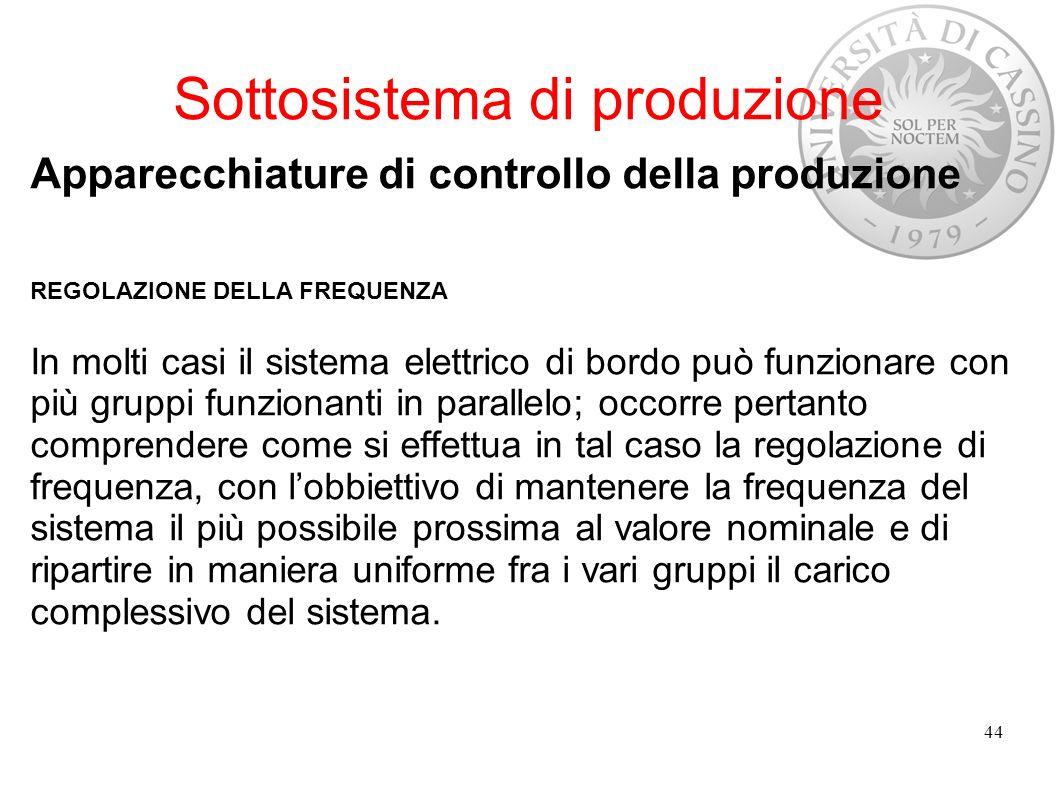Sottosistema di produzione Apparecchiature di controllo della produzione REGOLAZIONE DELLA FREQUENZA In molti casi il sistema elettrico di bordo può f