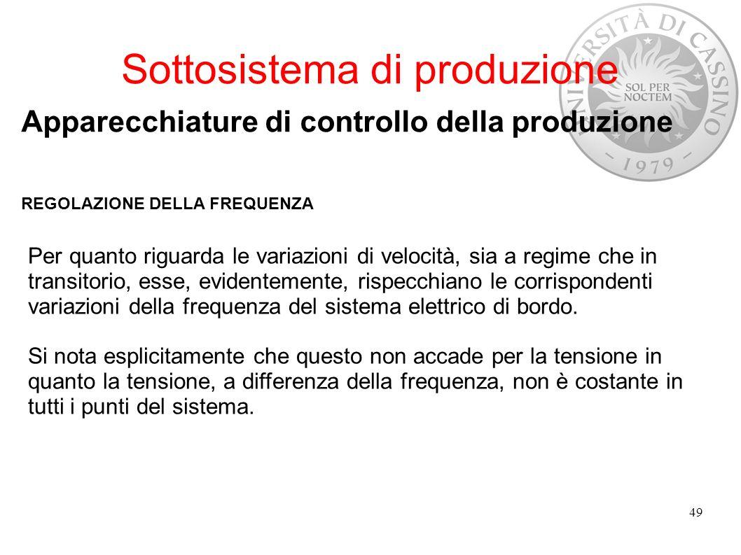Sottosistema di produzione Apparecchiature di controllo della produzione REGOLAZIONE DELLA FREQUENZA Per quanto riguarda le variazioni di velocità, si