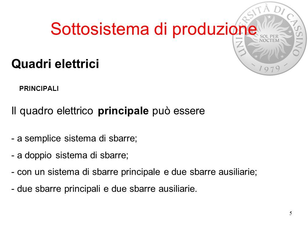 Sottosistema di produzione Quadri elettrici PRINCIPALI Il quadro elettrico principale può essere - a semplice sistema di sbarre; - a doppio sistema di
