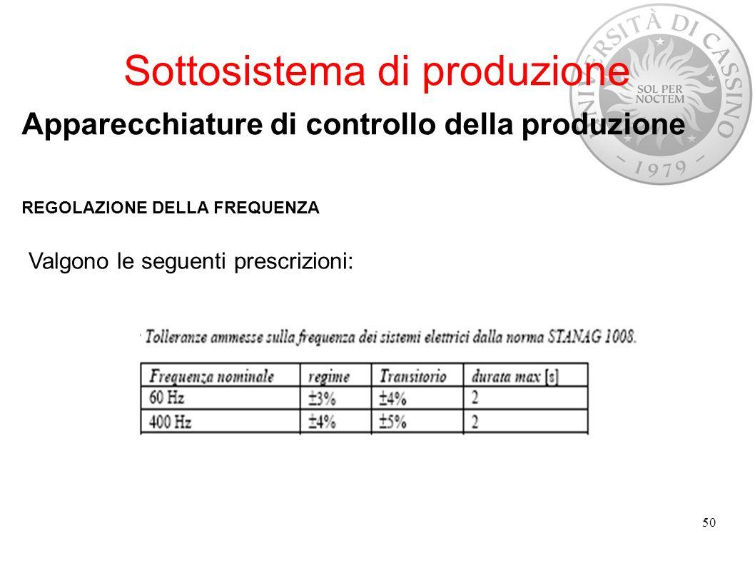 Sottosistema di produzione Apparecchiature di controllo della produzione REGOLAZIONE DELLA FREQUENZA Valgono le seguenti prescrizioni: 50