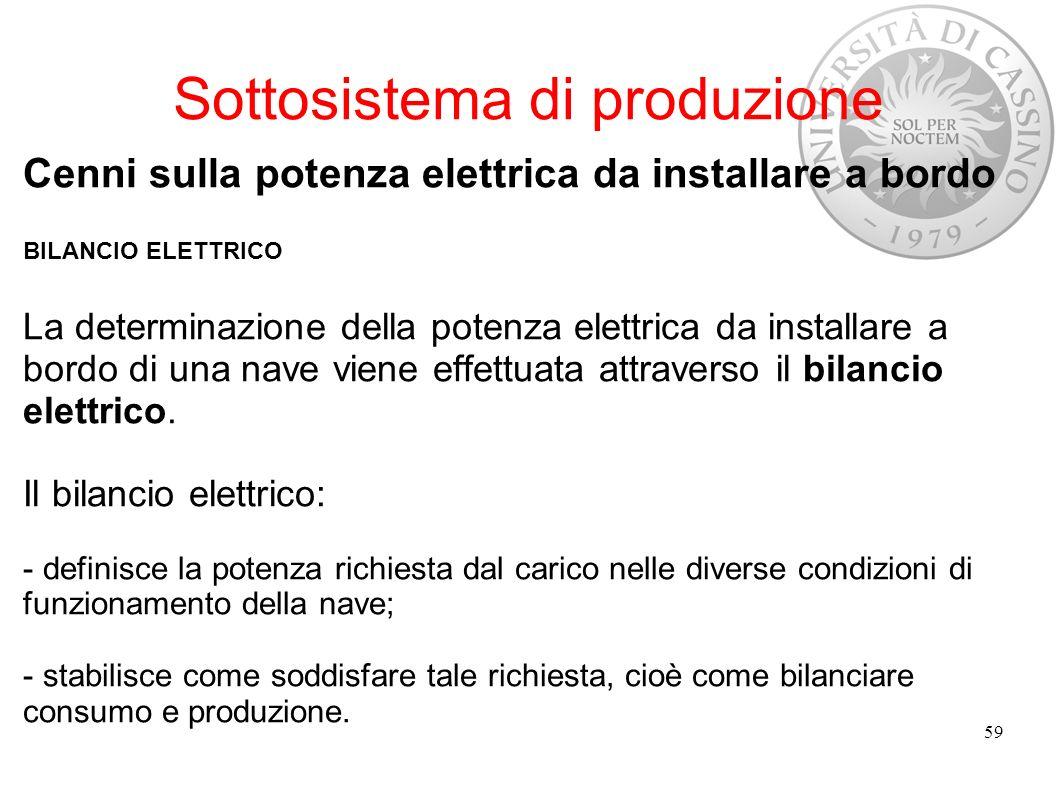 Sottosistema di produzione Cenni sulla potenza elettrica da installare a bordo BILANCIO ELETTRICO La determinazione della potenza elettrica da install