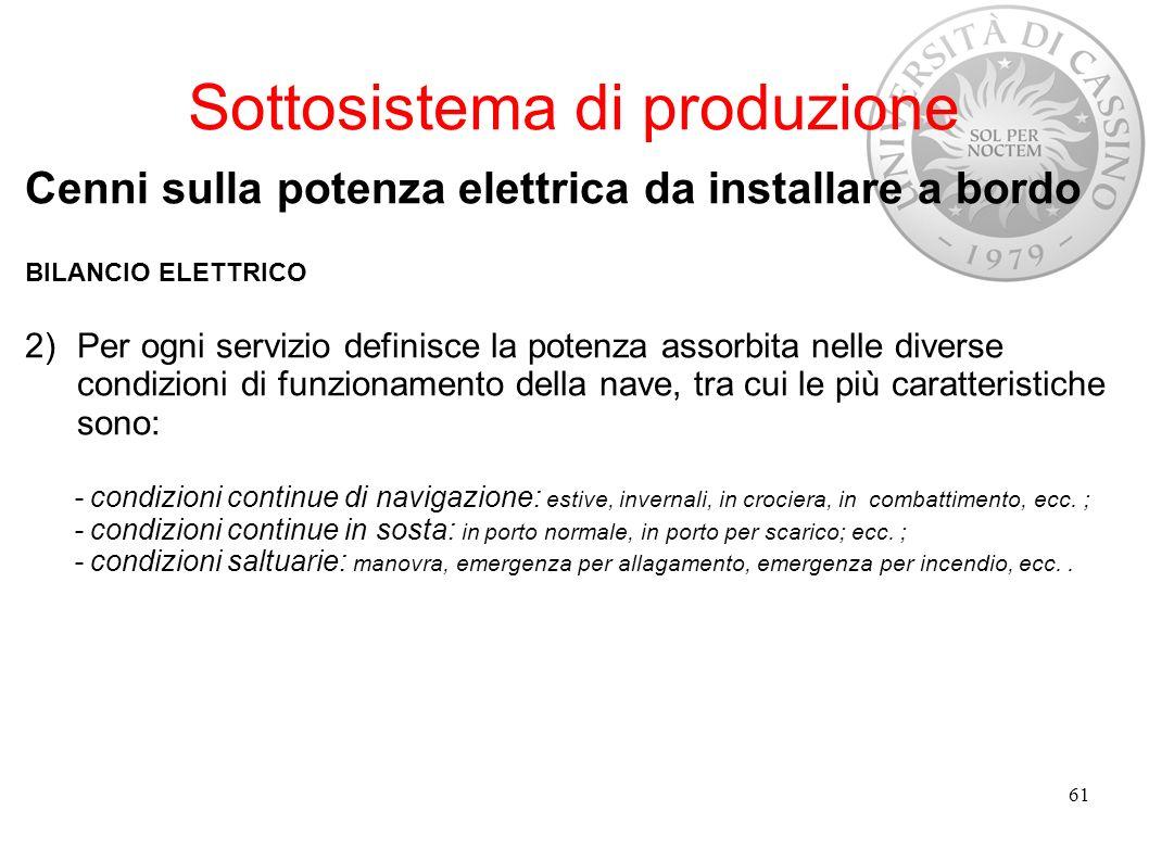 Sottosistema di produzione Cenni sulla potenza elettrica da installare a bordo BILANCIO ELETTRICO 2)Per ogni servizio definisce la potenza assorbita n