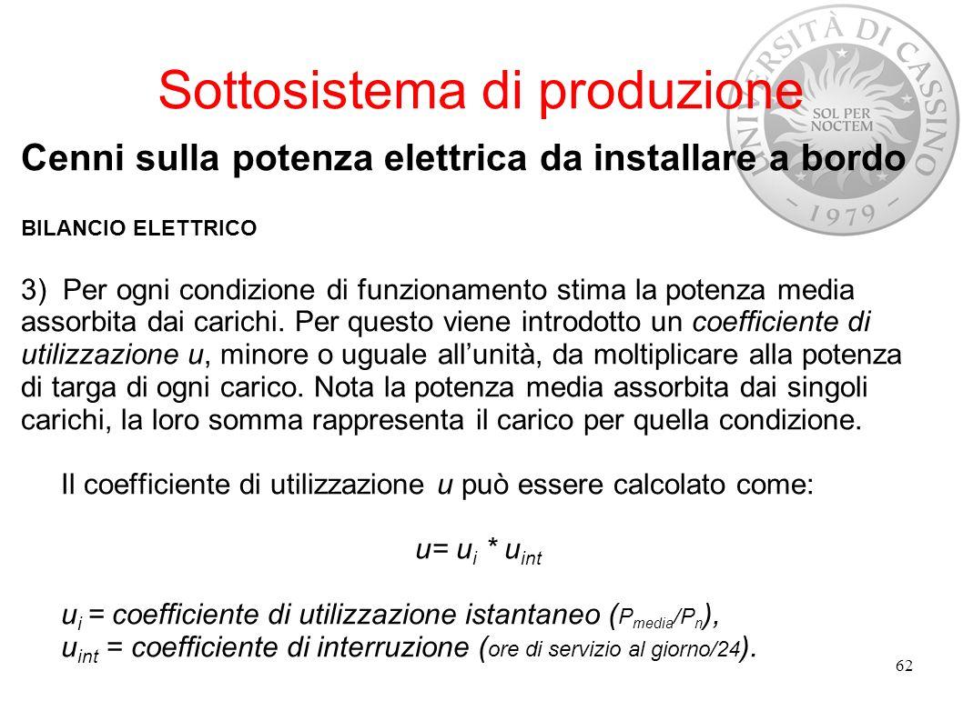 Sottosistema di produzione Cenni sulla potenza elettrica da installare a bordo BILANCIO ELETTRICO 3) Per ogni condizione di funzionamento stima la pot