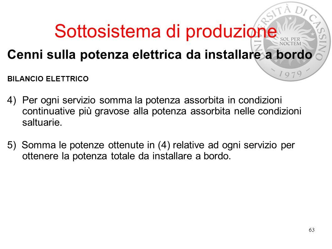 Sottosistema di produzione Cenni sulla potenza elettrica da installare a bordo BILANCIO ELETTRICO 4)Per ogni servizio somma la potenza assorbita in co