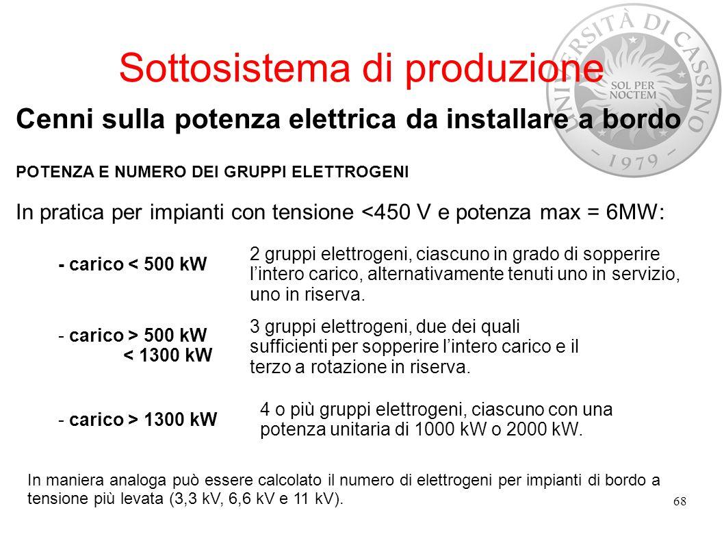 Sottosistema di produzione Cenni sulla potenza elettrica da installare a bordo POTENZA E NUMERO DEI GRUPPI ELETTROGENI In pratica per impianti con ten
