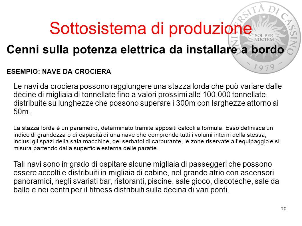 Sottosistema di produzione Cenni sulla potenza elettrica da installare a bordo ESEMPIO: NAVE DA CROCIERA 70 Le navi da crociera possono raggiungere un