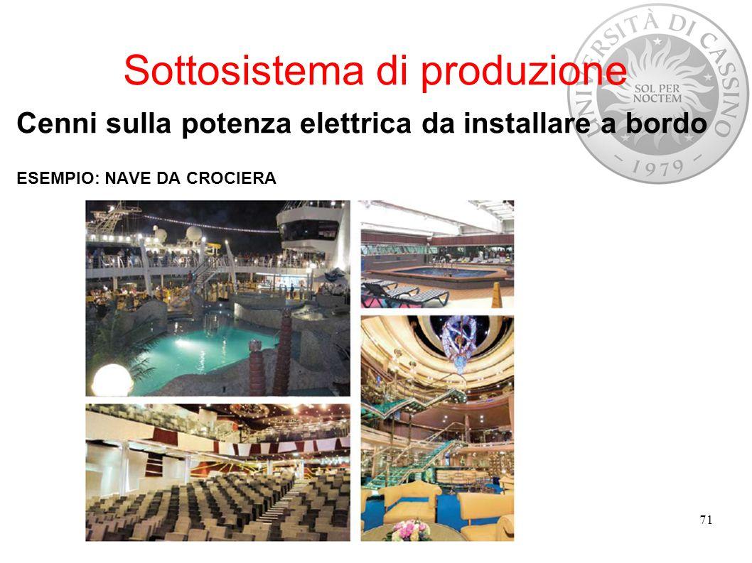 Sottosistema di produzione Cenni sulla potenza elettrica da installare a bordo ESEMPIO: NAVE DA CROCIERA 71