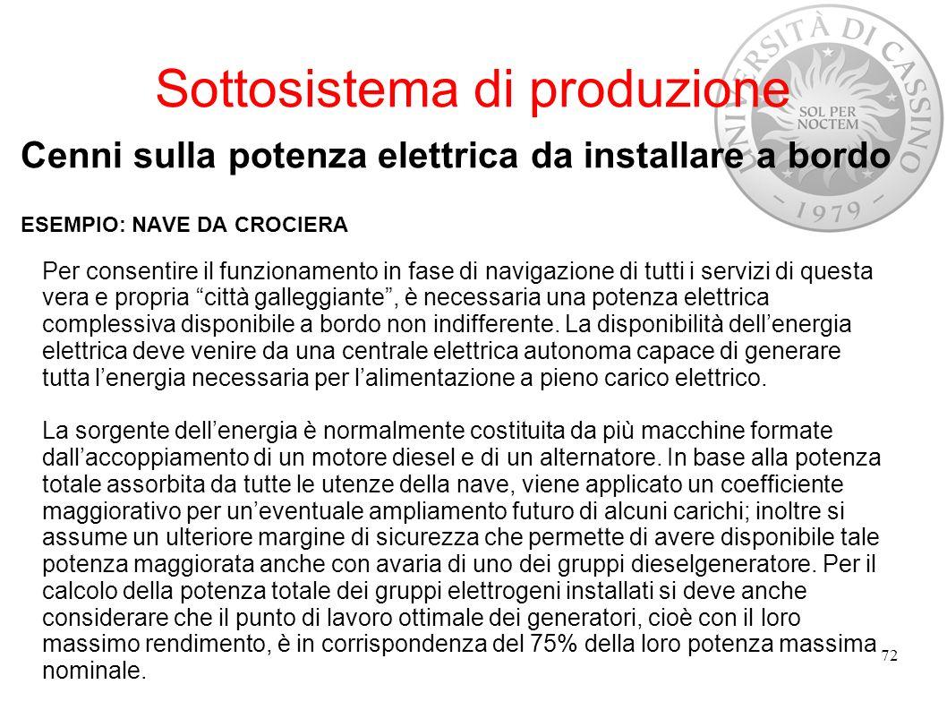 Sottosistema di produzione Cenni sulla potenza elettrica da installare a bordo ESEMPIO: NAVE DA CROCIERA 72 Per consentire il funzionamento in fase di