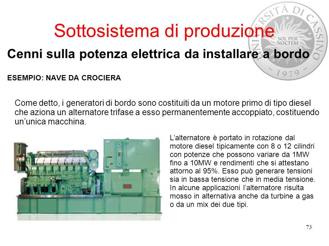 Sottosistema di produzione Cenni sulla potenza elettrica da installare a bordo ESEMPIO: NAVE DA CROCIERA 73 Come detto, i generatori di bordo sono cos