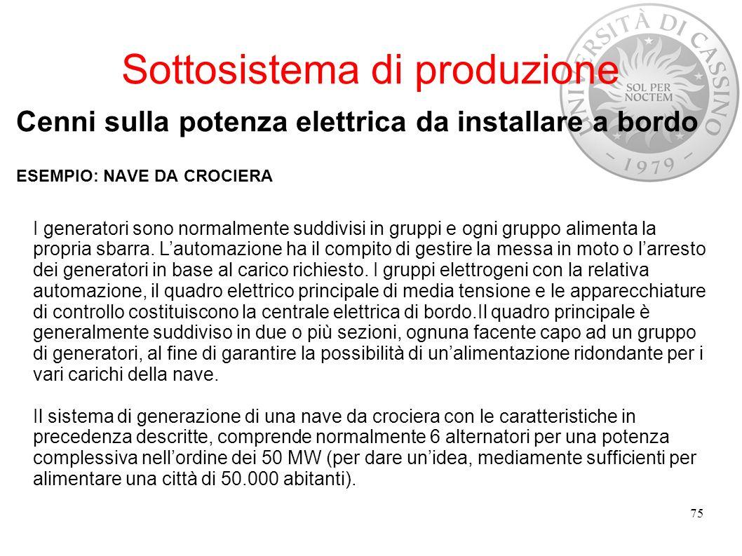 Sottosistema di produzione Cenni sulla potenza elettrica da installare a bordo ESEMPIO: NAVE DA CROCIERA 75 I generatori sono normalmente suddivisi in