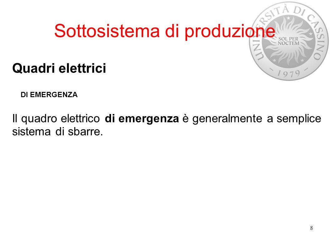 Sottosistema di produzione Quadri elettrici DI EMERGENZA Il quadro elettrico di emergenza è generalmente a semplice sistema di sbarre. 8