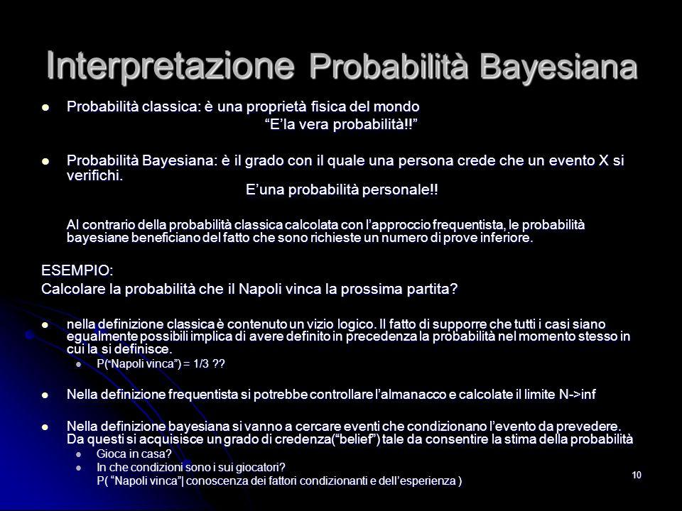 10 Interpretazione Probabilità Bayesiana Probabilità classica: è una proprietà fisica del mondo Probabilità classica: è una proprietà fisica del mondo