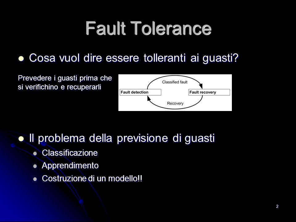 2 Fault Tolerance Cosa vuol dire essere tolleranti ai guasti? Cosa vuol dire essere tolleranti ai guasti? Prevedere i guasti prima che si verifichino