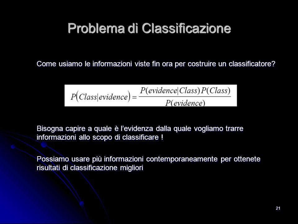 21 Problema di Classificazione Come usiamo le informazioni viste fin ora per costruire un classificatore? Bisogna capire a quale è levidenza dalla qua