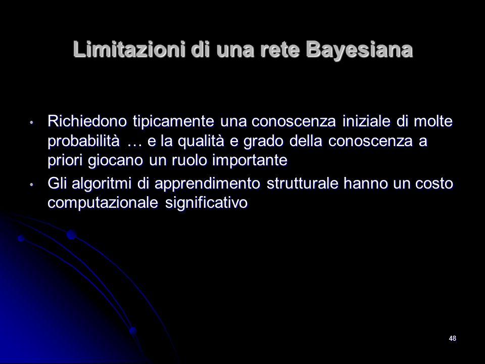 48 Limitazioni di una rete Bayesiana Richiedono tipicamente una conoscenza iniziale di molte probabilità … e la qualità e grado della conoscenza a pri