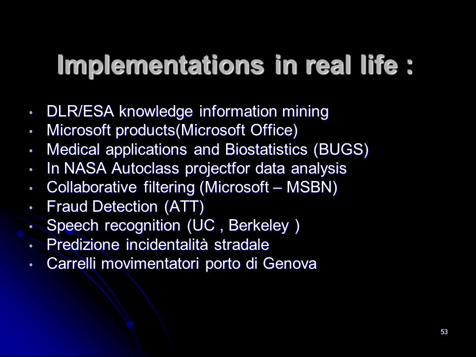 53 Implementations in real life : DLR/ESA knowledge information mining DLR/ESA knowledge information mining Microsoft products(Microsoft Office) Micro