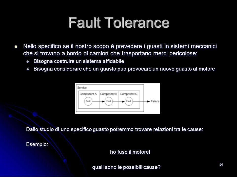 54 Fault Tolerance Nello specifico se il nostro scopo è prevedere i guasti in sistemi meccanici che si trovano a bordo di camion che trasportano merci