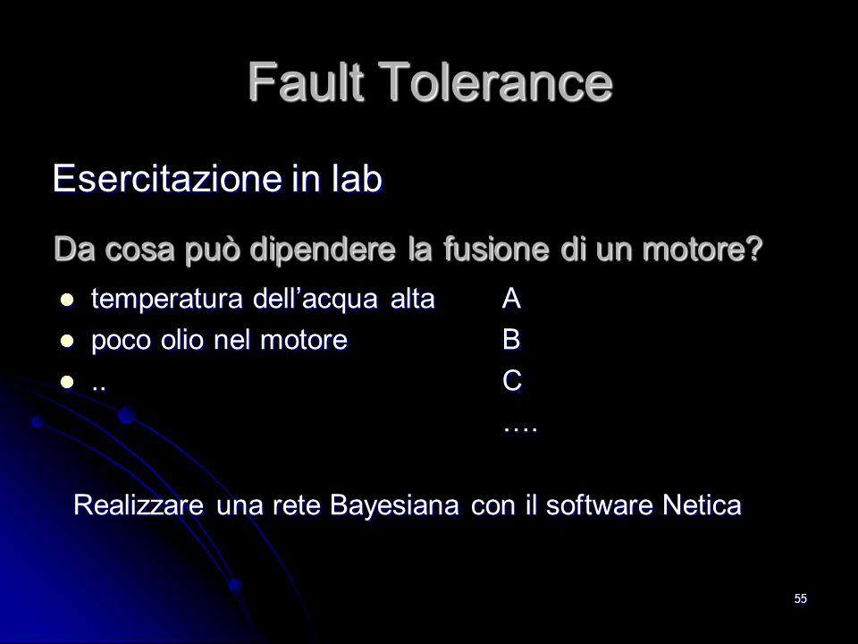 55 Fault Tolerance Esercitazione in lab temperatura dellacqua alta temperatura dellacqua alta poco olio nel motore poco olio nel motore....ABC…. Reali