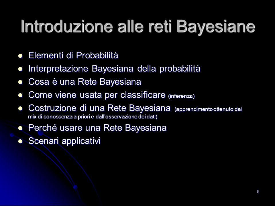 6 Introduzione alle reti Bayesiane Elementi di Probabilità Elementi di Probabilità Interpretazione Bayesiana della probabilità Interpretazione Bayesia