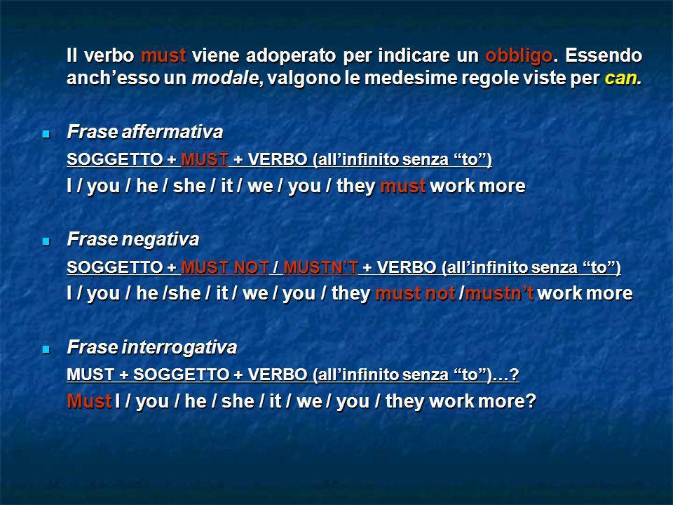 Il verbo must viene adoperato per indicare un obbligo. Essendo anchesso un modale, valgono le medesime regole viste per can. Frase affermativa Frase a
