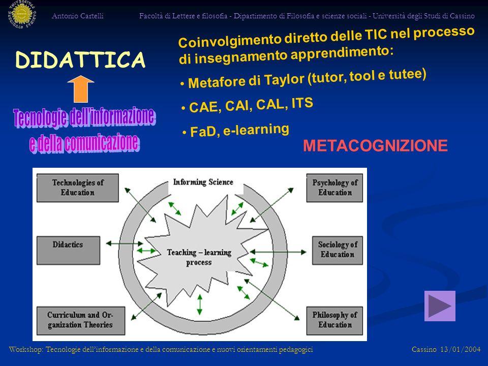 Antonio Cartelli Facoltà di Lettere e filosofia - Dipartimento di Filosofia e scienze sociali - Università degli Studi di Cassino Workshop: Tecnologie