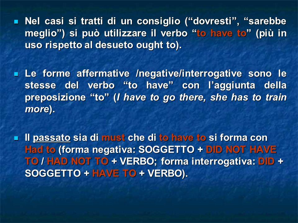 Nel casi si tratti di un consiglio (dovresti, sarebbe meglio) si può utilizzare il verbo to have to (più in uso rispetto al desueto ought to). Nel cas