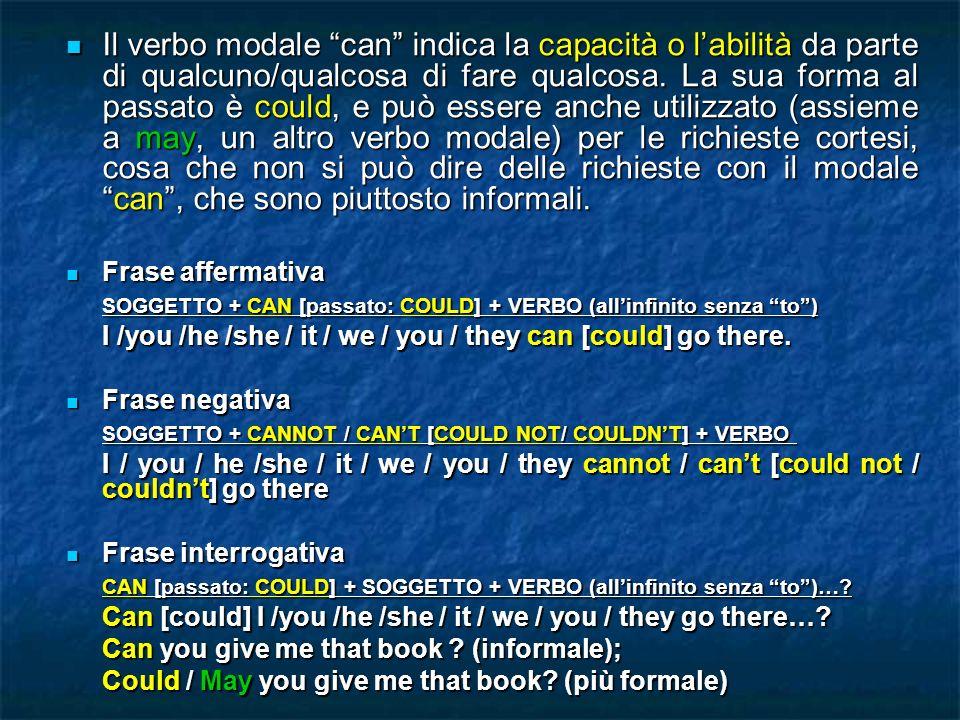 Il verbo modale can indica la capacità o labilità da parte di qualcuno/qualcosa di fare qualcosa. La sua forma al passato è could, e può essere anche