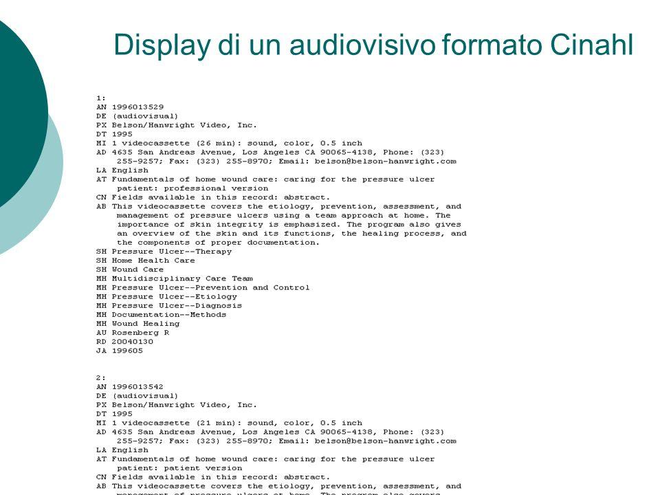 Display di un audiovisivo formato Cinahl