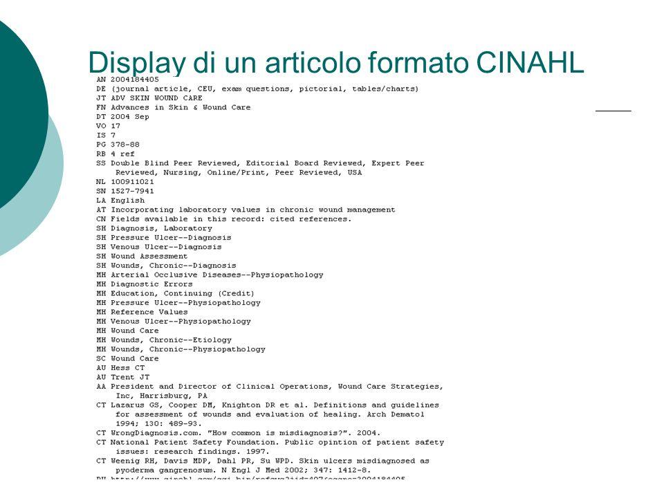 Display di un articolo formato CINAHL