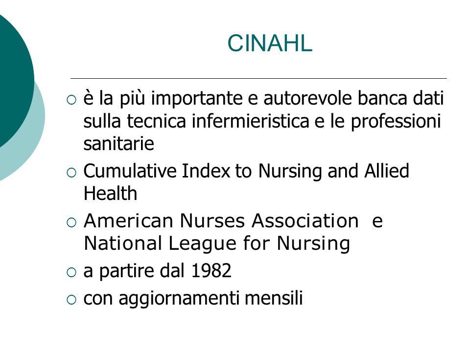 CINAHL è la più importante e autorevole banca dati sulla tecnica infermieristica e le professioni sanitarie Cumulative Index to Nursing and Allied Health American Nurses Association e National League for Nursing a partire dal 1982 con aggiornamenti mensili