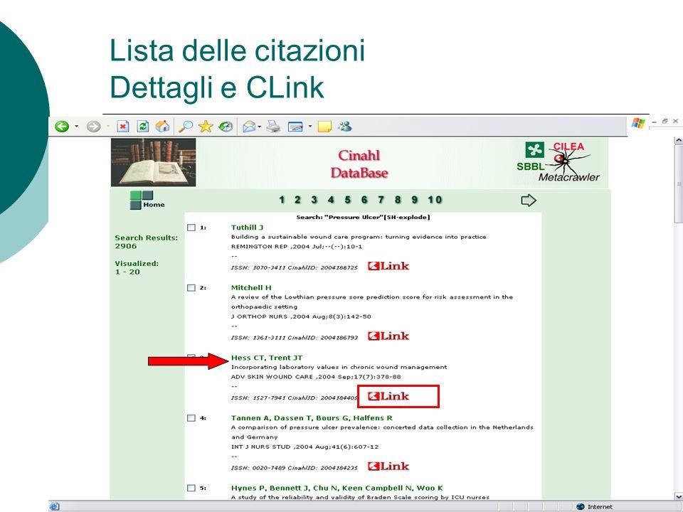 Lista delle citazioni Dettagli e CLink