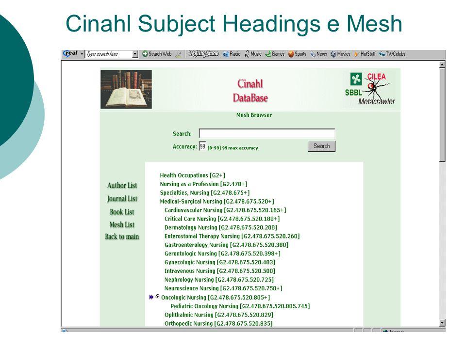 Cinahl Subject Headings e Mesh