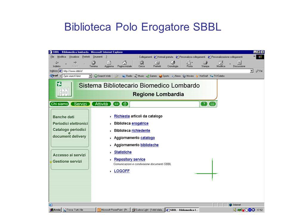 Biblioteca Polo Erogatore SBBL