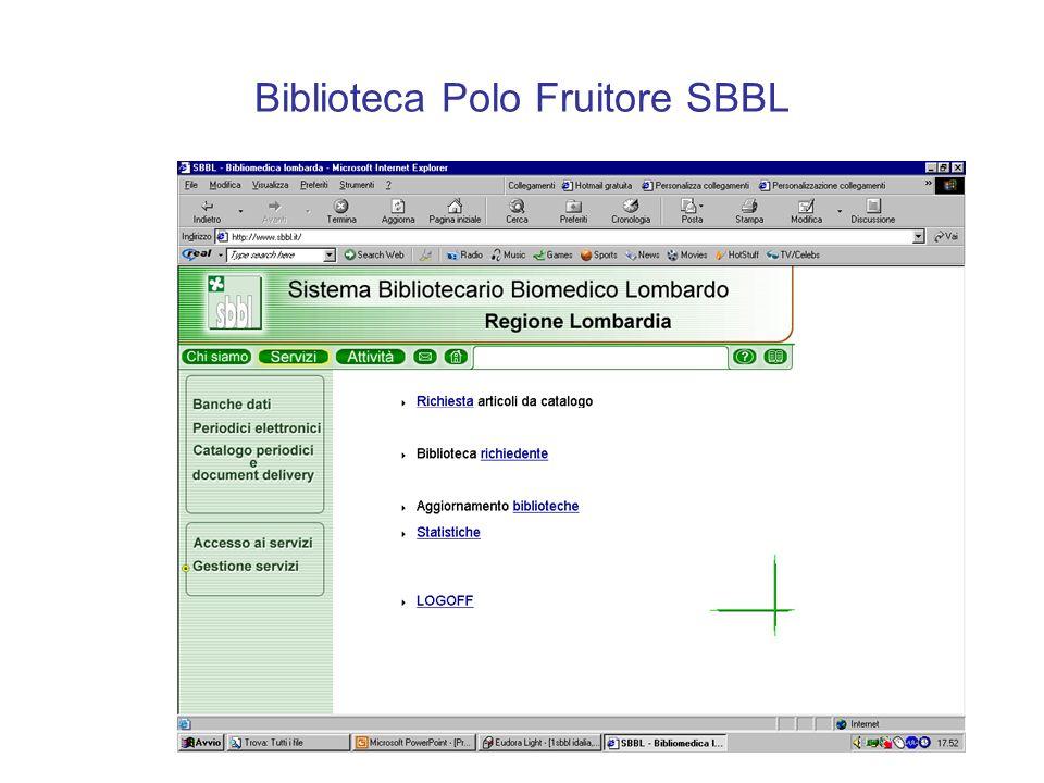 Biblioteca Polo Fruitore SBBL