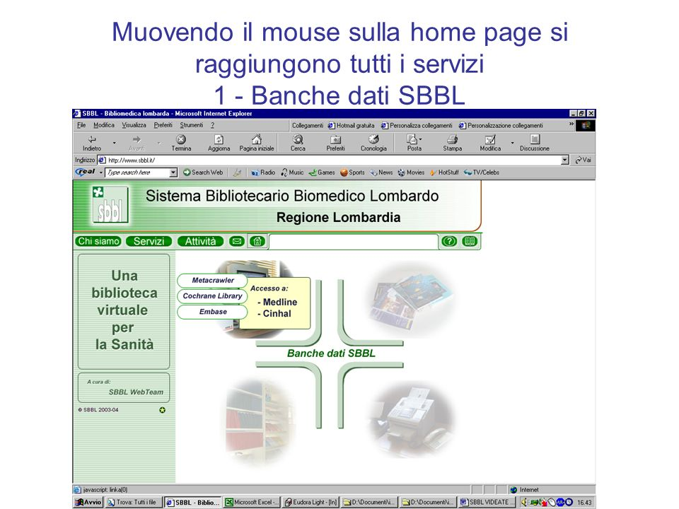 Muovendo il mouse sulla home page si raggiungono tutti i servizi 1 - Banche dati SBBL