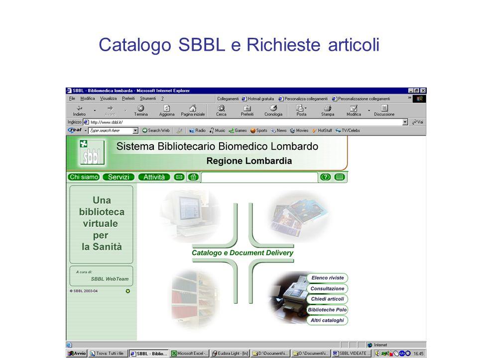 Catalogo SBBL e Richieste articoli