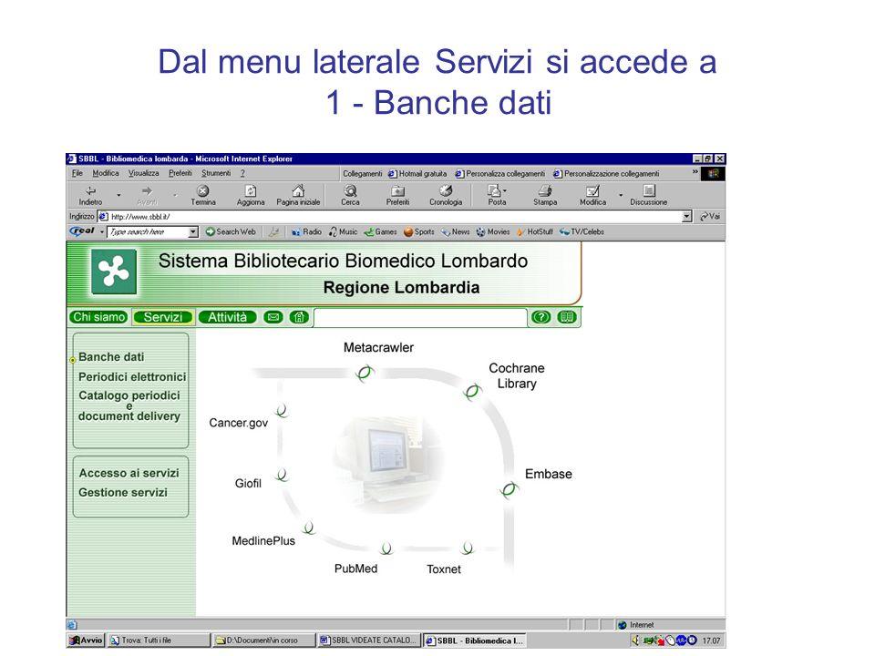 Dal menu laterale Servizi si accede a 1 - Banche dati