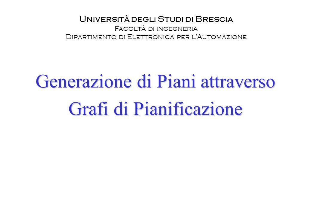 Generazione di Piani attraverso Grafi di Pianificazione Università degli Studi di Brescia Facoltà di ingegneria Dipartimento di Elettronica per lAutom