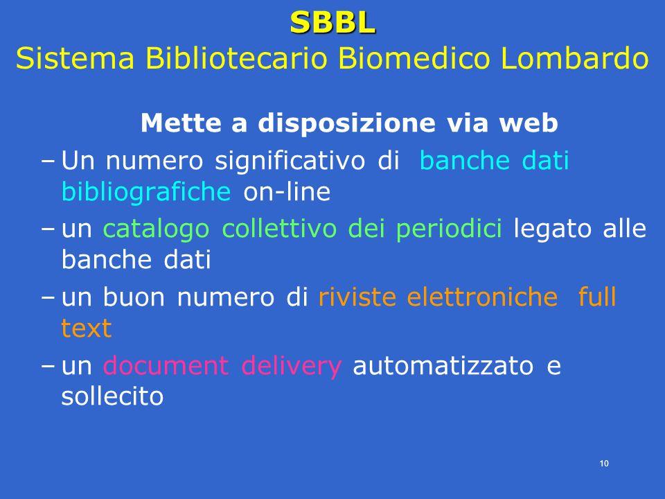 4° modulo- periodici eletronici - SBBL -E.Veronesi- 10 Mette a disposizione via web –Un numero significativo di banche dati bibliografiche on-line –un