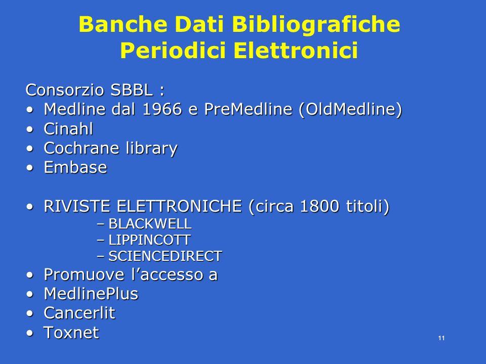 4° modulo- periodici eletronici - SBBL -E.Veronesi- 11 Banche Dati Bibliografiche Periodici Elettronici Consorzio SBBL : Medline dal 1966 e PreMedline (OldMedline)Medline dal 1966 e PreMedline (OldMedline) CinahlCinahl Cochrane libraryCochrane library EmbaseEmbase RIVISTE ELETTRONICHE (circa 1800 titoli)RIVISTE ELETTRONICHE (circa 1800 titoli) –BLACKWELL –LIPPINCOTT –SCIENCEDIRECT Promuove laccesso aPromuove laccesso a MedlinePlusMedlinePlus CancerlitCancerlit ToxnetToxnet