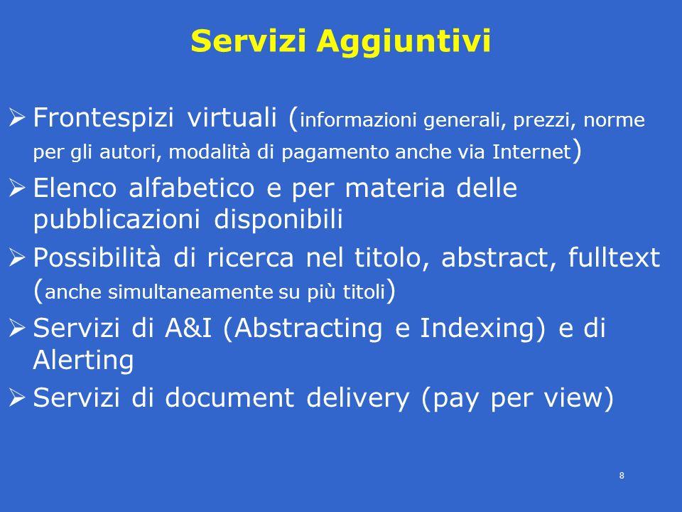 4° modulo- periodici eletronici - SBBL -E.Veronesi- 8 Servizi Aggiuntivi Frontespizi virtuali ( informazioni generali, prezzi, norme per gli autori, m