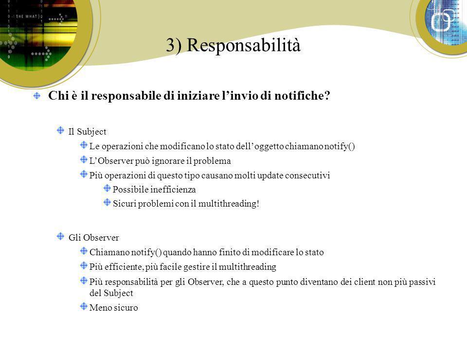 3) Responsabilità Chi è il responsabile di iniziare linvio di notifiche? Il Subject Le operazioni che modificano lo stato delloggetto chiamano notify(